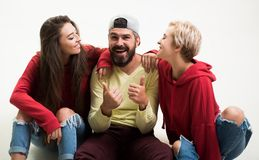 Forever young. Group hang out together. Carefree people. Youth just want to have fun. Freedom feeling. Youth fashion. Feeling free and stylish. Man and women stock photography