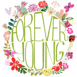 Forever young lettering Stock Photography