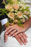 Forever Yours. A young bride holding her well-manicured hand upon the hand of the groom which is placed on the knee of the bride and the bouquet is placed behind royalty free stock photo