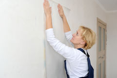 The forewoman glues wall-paper in the room Royalty Free Stock Photography
