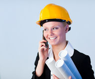 Forewoman talking on the phone Royalty Free Stock Photos