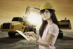 Forewoman works in mining site Royalty Free Stock Photo