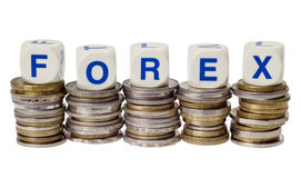 Forex. Stacks of coins with the word FOREX isolated on white background Stock Image