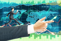 Forex background running businessman Stock Photo