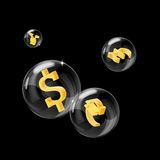 Forex bubbles. Picture of a soap bubbles with currencies signs inside Stock Photo