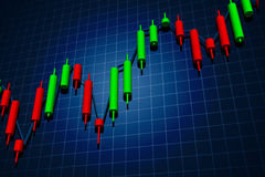 Forex candlestick chart over dark Royalty Free Stock Photography