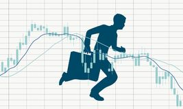 Candlestick stock exchange graph and businessman. Forex candlestick pattern. Trading chart concept. Financial market chart. Businessman running with briefcase Royalty Free Stock Photo