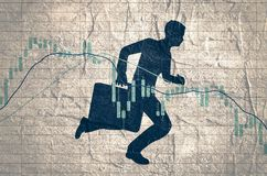 Candlestick stock exchange graph and businessman. Forex candlestick pattern. Trading chart concept. Financial market chart. Businessman running with briefcase Stock Image