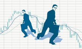 Candlestick stock exchange graph and businessman. Forex candlestick pattern. Trading chart concept. Financial market chart. Businessman running with briefcase Stock Images