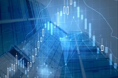 Forex chart backdrop. Forex chart on abstract city backdrop. Investment, stock, trade and finance concept. Double exposure Royalty Free Stock Images