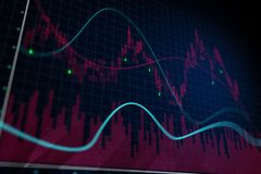 Forex chart background. Creative forex chart background. Finance and trade concept. 3D Rendering Royalty Free Stock Images