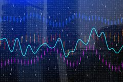 Forex chart background. Creative forex chart background. Investment and trade concept. Double exposure Stock Image
