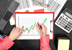 Forex chart on clipboard Stock Images