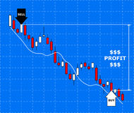 Forex chart. Concept of forex trade profit. Growth forex diagram.Vector illustration Stock Photo