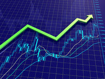 Forex chart with growing up trend arrow. Stock Images