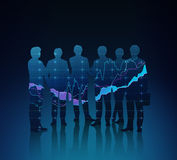 Forex chart. Silhouette of business team at forex chart Stock Images