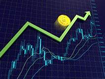 Forex charts, arrow and euro coin. Blue Forex charts with green growing arrow and euro coin Stock Images