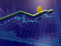 Forex charts, arrow and euro coin. Blue Forex charts with green growing arrow and euro coin Royalty Free Stock Image