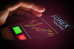 Forex concept, hand woman using smartphone with virtual screen. royalty free stock photos