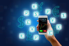 Forex concept, stock market, Woman holding smart phone and curre. Ncy icon Stock Images