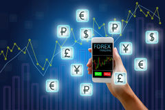 Forex concept, stock market, Woman holding smart phone and curre. Ncy icon and chart background Stock Photography