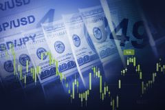 Forex Currency Trading Concept. Forex Currency Trading Blue Concept with American Dollars Stock Photos