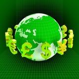 Forex de Dollars van Euros Means British Pounds And Royalty-vrije Stock Afbeeldingen