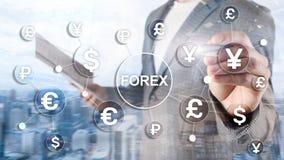 Forex de uitwisselings van van de bedrijfs handelmunt de dollar euro pictogrammen financi?ndiagrammen op vage achtergrond royalty-vrije stock foto