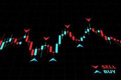 Forex de vectorillustratie van Handelindicatoren op zwarte achtergrond vector illustratie
