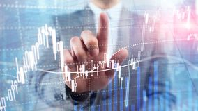 Forex die, Financi?le markt, Investeringsconcept op commerci?le centrumachtergrond handel drijven stock afbeelding