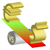 Forex Euro Dollar Currency On See-Saw Illustration Stock Photos