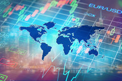 Forex, financial concept. Finance, global financial markets concept, collage with stock market chart and forex data at world map background. Financial abstract Stock Images