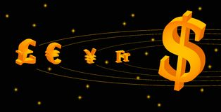 Forex galaxy. Vector picture that represent forex market as a solar system Stock Photography