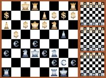 Forex game. Picture of chess game with currensies signs on chessboard, vector eps10 illustration Royalty Free Stock Image