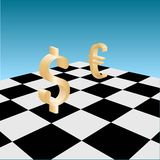 Forex game. Picture of EURO and Dollar signs on chessboard, vector eps8 illustration Stock Photo