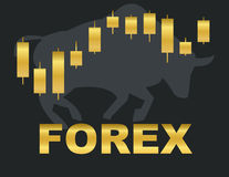 Forex. Gold chart and the inscription forex.In the background silhouette of bull Stock Images