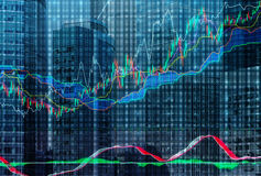 Forex grafiek over de achtergrond van de wolkenkrabbers van het Internationale Commerciële Centrum in Moskou Royalty-vrije Stock Afbeelding