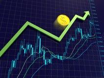 Forex grafieken, pijl en dollarmuntstuk Stock Afbeeldingen