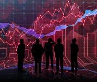 Forex grafiekruimte in rood met mensen siluet royalty-vrije stock foto's