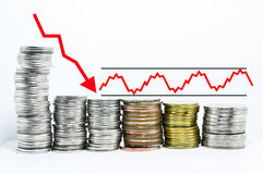 Forex graph red arrow downtrend. And sideway on coins royalty free stock photography