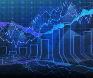 Forex graph room in blue Royalty Free Stock Photo
