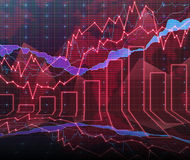 Forex graph room in red Stock Image