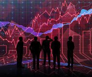Forex graph room in red with people siluet Royalty Free Stock Photos