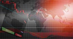 Forex handel/forex de de raadsgegevens van de grafiekengrafiek over de achtergrond van de wereldkaart KOPEN en VERKOPEN opties stock illustratie