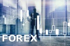 Forex handel drijvend, financiële kaarsgrafiek en grafieken op vage commerciële centrumachtergrond royalty-vrije stock fotografie