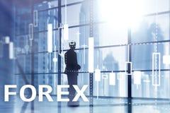 Forex handel drijvend, financiële kaarsgrafiek en grafieken op vage commerciële centrumachtergrond stock fotografie
