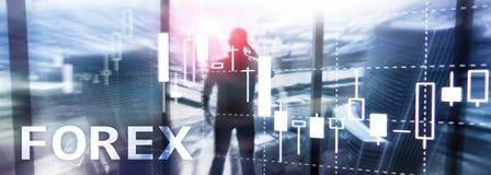 Forex handel drijvend, financiële kaarsgrafiek en grafieken op vage commerciële centrumachtergrond royalty-vrije stock foto's