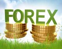 Forex handel en gouden muntstukkensymbool stock illustratie
