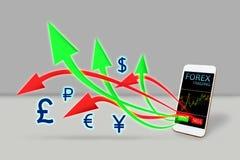 Forex handelconcept de pijl koopt en verkoopt uit mobiele telefoon Royalty-vrije Stock Fotografie