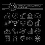 Forex Line Icons Black Royalty Free Stock Image